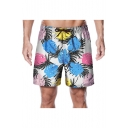 Men's Beach Fashion Tropical Plants Printed Drawstring Waist Loose Swim Trunks with Liner