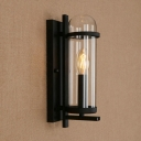 Candle Style Wall Sconce with Clear Glass Shade Loft Style 1 Head Wall Mount Light in Black