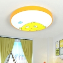 Metal Round Shade Flushmount with Adorable Chick Design Nursing Room LED Ceiling Fixture in Yellow
