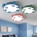 Metal LED Ceiling Lamp with Cartoon Panda Blue/Green/Pink Flush Light for Boys Girls Bedroom