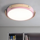 Round Ultra Thin Ceiling Light Modern Macaron Living Room Kids Room Metal LED Flush Light Fixture