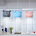 Linear Canopy Hanging Lamp with Cartoon Mouse Children Bedroom Metallic Triple Suspended Light in Multi Color