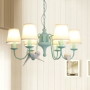 6 Lights Conical Hanging Lamp with Bird Decoration Rustic Style Metallic Chandelier in Aqua