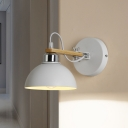 1 Bulb Armed Wall Mount Light with White Dome Shade Modernism Metallic Sconce Light