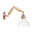 Rotatable 1 Head Gourd Wall Sconce Retro Style Glass Shade Wall Light Fixture in Rose Gold