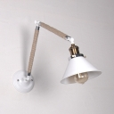 Brass Finish Coolie Wall Lamp with Adjustable Arm Rustic Style Rope 1 Head Sconce Light