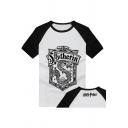 Round Neck Raglan Sleeve Popular Harry Potter Badge Print Cotton White T-Shirt