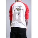 Funny Letter Bee Printed Raglan Sleeve Three-Quarter Sleeve Loose Fit Cotton T-Shirt