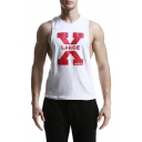 Cool Letter LARGE X Pattern Summer Loose Fitted Low Cut Tank Top for Guys