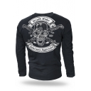 Guys Cool Skull Letter DEATH RIDER Pattern Long Sleeve Breathable Cotton Training T-Shirt