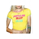 Letter POPULAR SLUT CLUB Printed Short Sleeve Cropped Slim Yellow T-Shirt for Girls