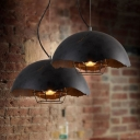 Industrial Style Broken Metal Shade 1-Light Pendant Fixture in Black Finish with Wire Metal Cage