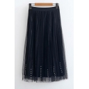 High Elastic Waist Plain Beaded Mesh-Gauze Midi A-Line Skirt