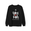 Crewneck Long Sleeve Letter YES Pattern Regular Fitted Pullover Sweatshirt
