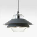 Clear Glass 3 Shades Ceiling Lamp Contemporary Hanging Lamp in Gray with Adjustable Length