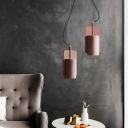 Industrial Simplicity Cylinder Pendant Lamp Cord Concrete Lighting Fixture in Pink