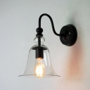 Bell Shape Wall Sconce Industrial Vintage Transparent Glass Wall Light with Gooseneck