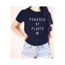 Letter POWERED BY PLANTS Printed Short Sleeve Round Neck Black T-Shirt