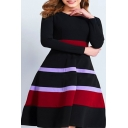 Long Sleeve Round Neck Striped Midi Black A-Line Dress