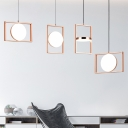 Rose Copper Rectangle Drop Light Post Modern Style Metal LED Hanging Pendant Lamp in White Light