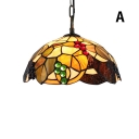 2 Light 16-Inch Wide Ceiling Pendant with Fruit Pattern Glass Shade Multicolored in Tiffany Style