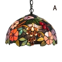 Foyer Tiffany Fruit and Floral Ceiling Fixture 12-Inch Wide  Stained Glass Shade in Multicolor Finish