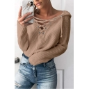 Plain V Neck Lace Up Front Long Sleeve Warm Knit Sweater