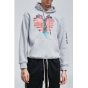 Men's Hop Fashion Simple Print Front Letter Long Sleeve Loose Fitted Cotton Grey Hoodie