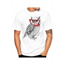 Digital 3D Owl Printed Short Sleeve Round Neck Slim White Top for Guys
