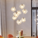 Multi Light Cube LED Hanging Lamp Glass Cluster Pendant Light for Living Room Bedroom