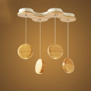 Round Shade Pendant Light Modern Woody 4 Light Suspended Light in Natural Wood Finish