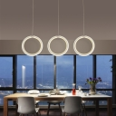 Modern Design Circle Suspension Light Acrylic Multi Light Pendant Light in White