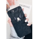 Unique Lace-Panelled Card Form Cartoon Dog Printed Fashion iPhone Case