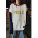 Guys Street Style Cool Letter HABBINFSS Print Colorblock Loose Oversize Hoodie