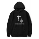 Trendy Cross Letter JESUS SAVED MY LIFE Print Loose Casual Pullover Hoodie