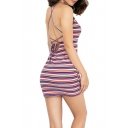 Summer New Stylish Red Striped Printed Sexy Open Back Mini Bodycon Slip Dress