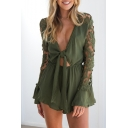 Women's Sexy Hollow Out Lace-Panelled Long Sleeve Cut Out Waist Plunge Neck Ruffle Hem Plain Rompers