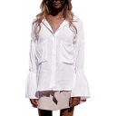 Basic Simple Plain Fashion Flared Cuff Long Sleeve Dipped Hem Button White Shirt