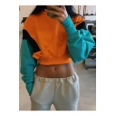 Fashion Sports Round Neck Long Sleeve Chic Color Block Cropped Casual Sweatshirt