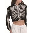Stylish Black 3D Skeleton Printed Long Sleeve Cropped Drawstring Hoodie