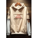 Unique Cool Letter AMEC STDDIOS Print Cut-Out Patched Long Sleeve Warm Thick Hoodie for Juniors