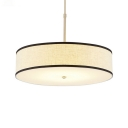 3 Bulbs Round Suspended Light Modernism Fabric Chandelier Lamp for Restaurant Bedroom in Beige
