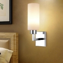 1 Light Cylinder Vanity Light Modern Concise White Glass Wall Mount Light in Chrome for Bedside
