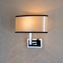 1 Light Oval Fabric Shade Wall Light Concise Modern Sconce Lighting for Foyer Bedside