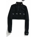 Stylish Letter F Embroidery Stand Collar Half-Zip Long Sleeve Cropped Cotton Sweatshirt