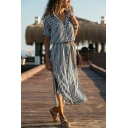 New Trendy Striped Print Long Sleeve Lapel Collar Belted Waist Split Side Button Down Maxi Shirt Dress
