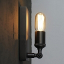 Black Single Light Bare Bulb Edison Socket LED Wall Sconce