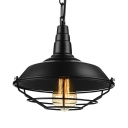 Industrial Pot Cover Pendant Light in Wrought Iron Single Light Wire Guard Hanging Lamp in Black Finish