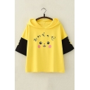 Lovely Cartoon Pikachu Printed Short Sleeve Colorblock Yellow Hoodie