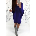 Women's New Trendy Round Neck Batwing Long Sleeve Solid Mini Shift Sweater Dress